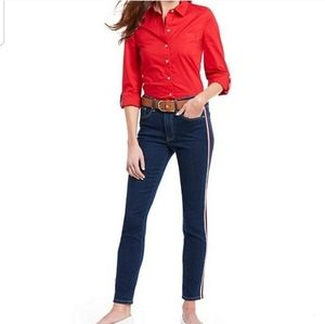 Tommy Hilfiger women red button down shirt